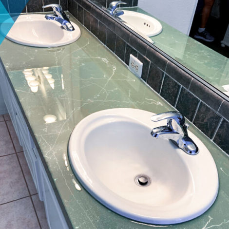 clear epoxy bathroom counter